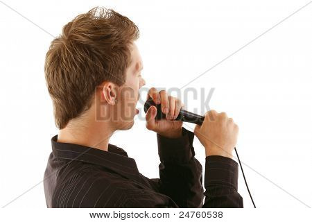 Man with microphone isolated on white background