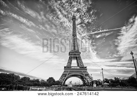 poster of Eiffel Tower In Paris On Beautiful Autumn Evening. Eifel Tower Is The Symbol Of Paris Romantic And L