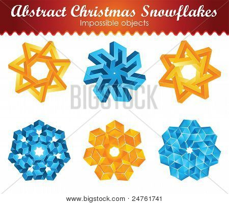 Collection of six impossible christmas snowflakes.