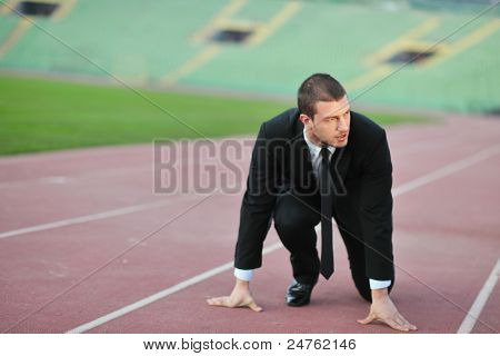 business man sport manager and executive at soccer ball athletic stadium and race track