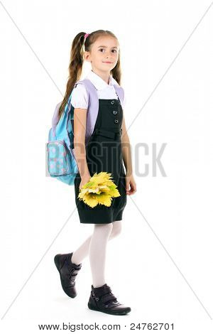 Portrait of beautiful little girl in school uniform with backpack and autumn leaves Isolated on white