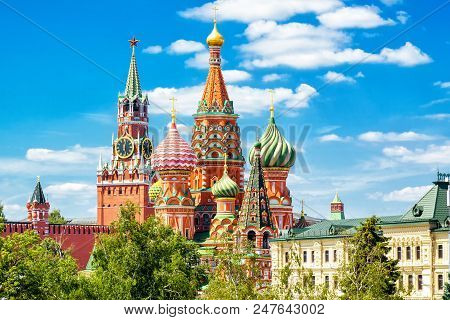 St Basils Cathedral And Moscow