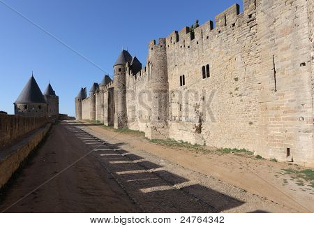 Fortified walls of the medieval town Carcassonne