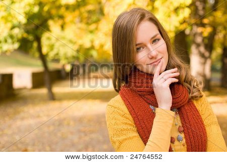 Fall Fashion Girl Pondering.