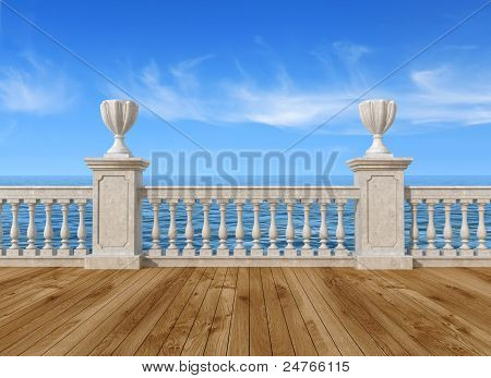 Empty Terrace With Balustrade