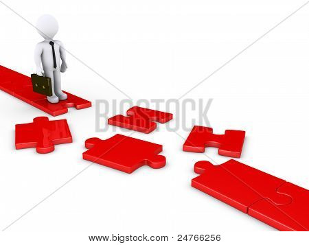 Businessman On Damaged Puzzle Path
