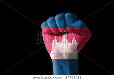 Fist Painted In Colors Of Cambodia Flag