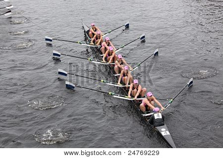 Yale University women's Eights races in the Head of Charles Regatta