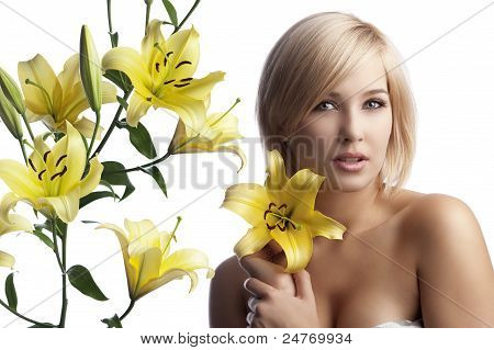 Beauty Blond Woman With Lily