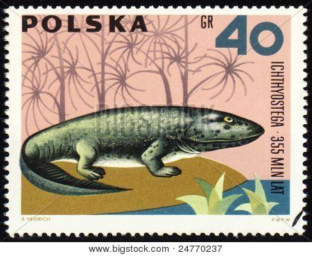 Dinosaur Ichthyostega On Post Stamp