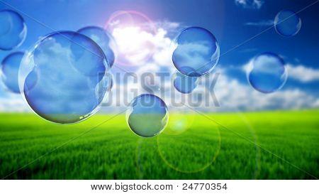 Soap bubbles flying