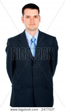 Business Man Leaning Over Something Imaginary