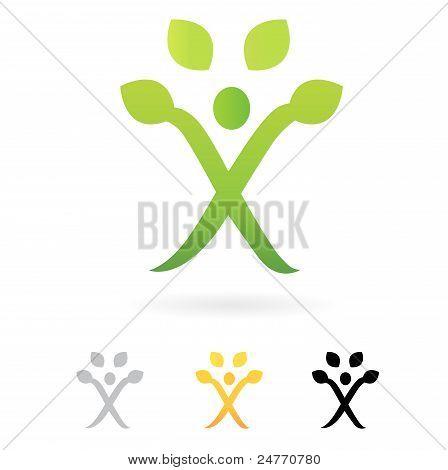 Negocios árbol humano verde símbolo aislado en blanco...