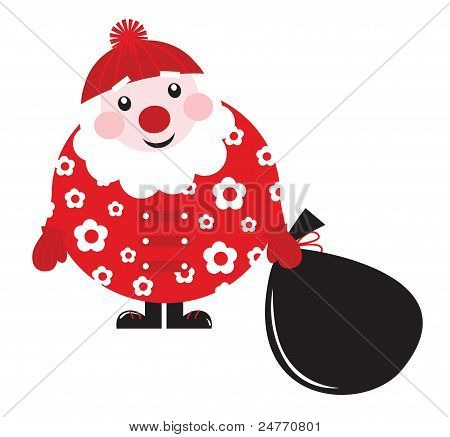 Cute Cartoon retrô Floral Santa com saco grande - Vector...
