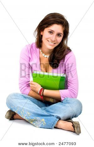 Female Student With A Notebook