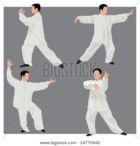 Four forms of Tai-chi. Men wear traditional chinese cloths. Gray background.  Color vector illustration.