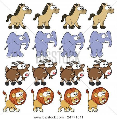 Animal Walking animations . Vector cartoon and isolated characters. You can use four frames in loop, each animal.