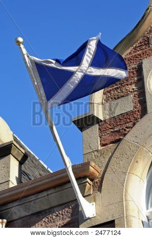 Scotland Flag On Old Building
