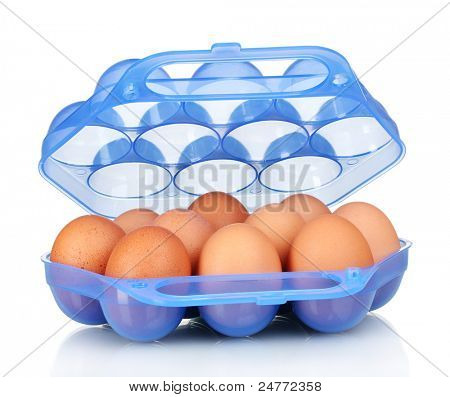 Eggs in blue plastic box isolated on white