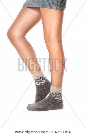Fwmale Legs In Woolen Socks