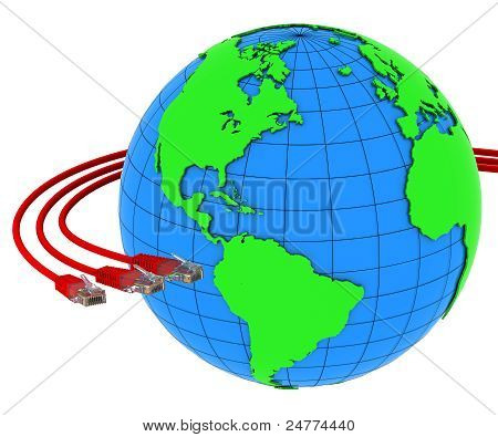 Three red internet cables wrap around the Earth