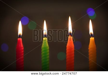 Colorful Candles On Dark Background