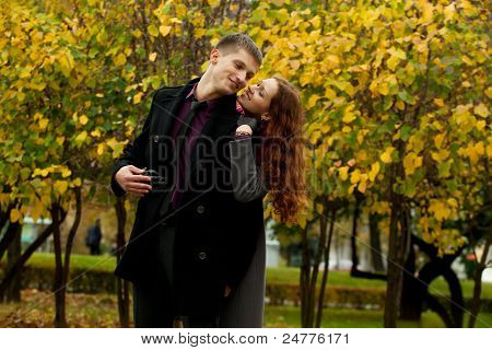 Young Woman Hugging His Man