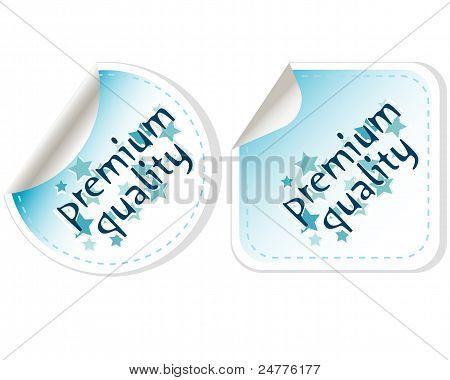 Vector de calidad Premium que etiqueta Button set aislado en blanco
