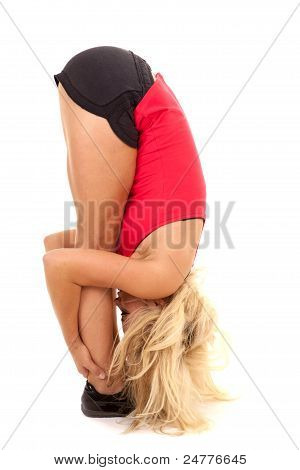 Woman Red Tank Bend Head To Toes