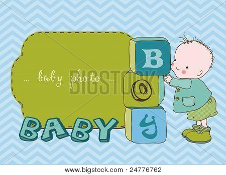 Baby Boy tarjeta de desembarque con marco de fotos en Vector