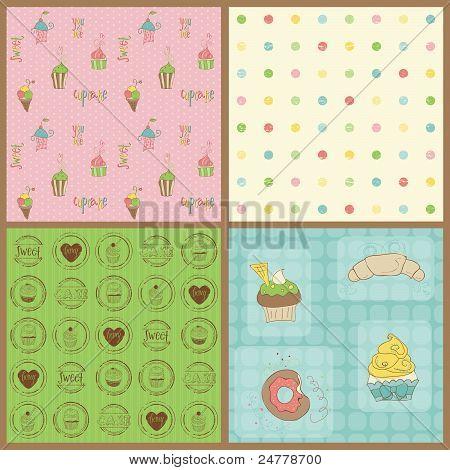 Conjunto de fondos hermosos Cupcakes - en Vector