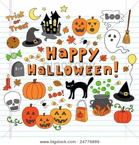 Happy Halloween Trick or Treat Notebook Doodles- Hand Drawn Holiday Design Elements Set on White Lined Sketchbook Paper Background- Vector Illustration