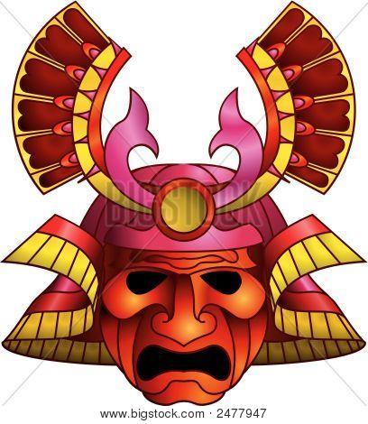 Máscara Samurai vermelho