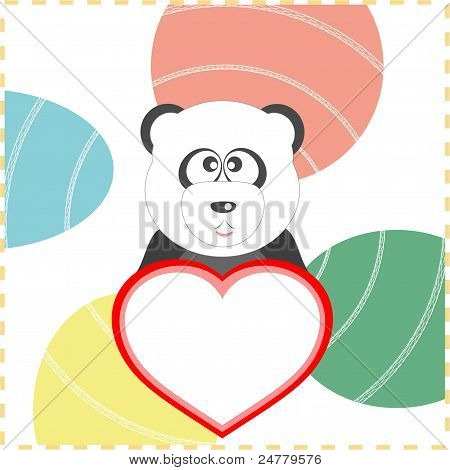 love panda with the heart on a background vector