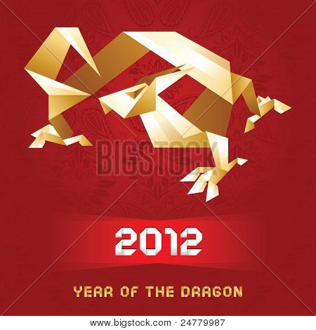 Origami Dragon, 2012 Year - Gold&red