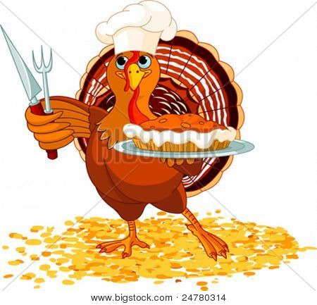 Thanksgiving turkey serving pumpkin pie