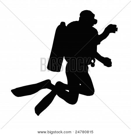 Sport Silhouette - Scuba Diver Taking Under Water Picture
