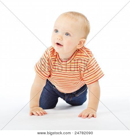Active One Year Baby Carwling Over White Background