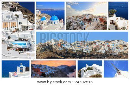 set of summer photos of Santorini Greece