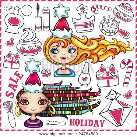 Christmas shopping theme: vector illustration of a pretty girls with  beautiful hair and lots of Christmas presents for ladies