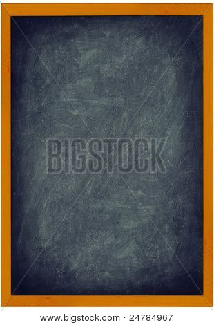 Blackboard / Chalkboard vintage texture background with frame of wood. Vertical closeup showing entire frame isolated on white background. Add text and use as sign.