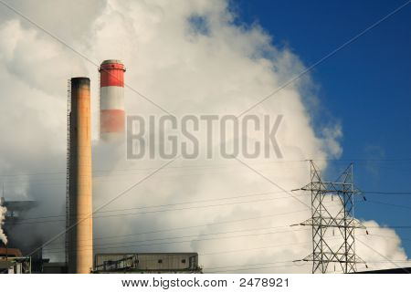 Power Lines Smoke Stacks