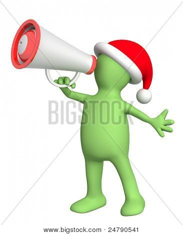 Christmas message. 3d puppet with megaphone. Isolated over white