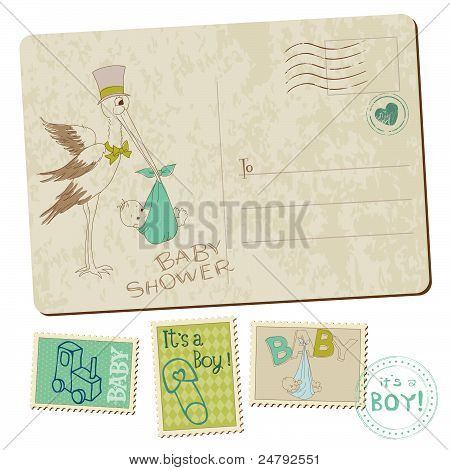 Vintage Baby Boy Shower Or Arrival Postcard With Stork In Vector
