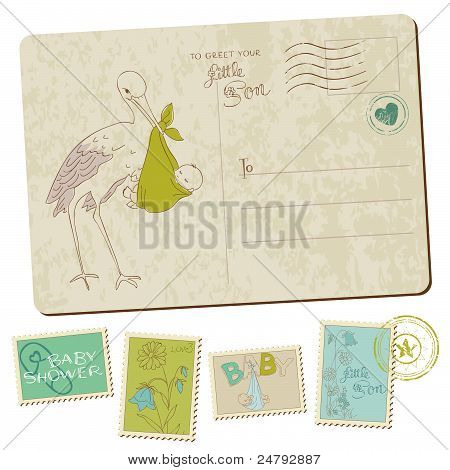 Vintage Baby Boy Arrival Postcard In Vector