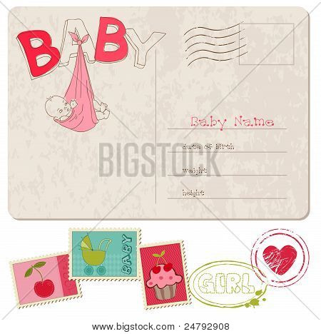 Tarjeta de ducha Bebé niña con conjunto de sellos