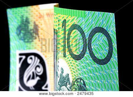Australian One Hundred Dollar Note On Black