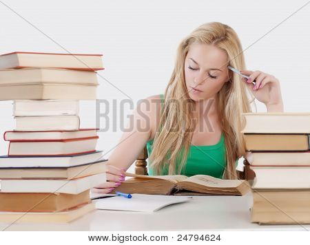 girl reading an old book