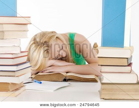 Tired Student Fell Asleep