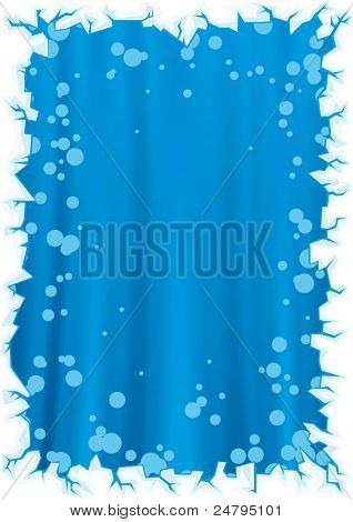 Blue christmas background with border of snowflakes
